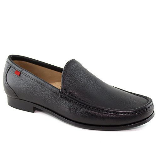 Mens Genuine Leather Made In Brazil Broadway Square Venetian Black Grainy Loafer Marc Joseph NY Fashion Shoes 10 by Marc Joseph New York