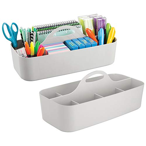Office Caddy - mDesign Large Office Caddy Storage Container & Organizer Tote with built-in Handle for Gel Pens, Pencils, Markers, Erasers, Staplers - Pack of 2, Light Gray