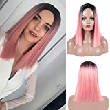 Short Bob Wig Silky Straight with Bangs Synthetic Pink Color Daily Makeup Party