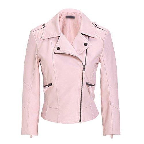 Manteau Jacket Court Femme Classique PU Cuir Veste Manteaux en THtxABxqaw