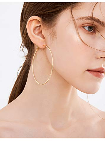Cocadant 3 Pairs Big Hoop Earrings,Stainless Steel Hoop Earrings 14K Gold Plated Rose Gold Plated Silver for Women Girls Sensitive Ears(3 Colors Set)