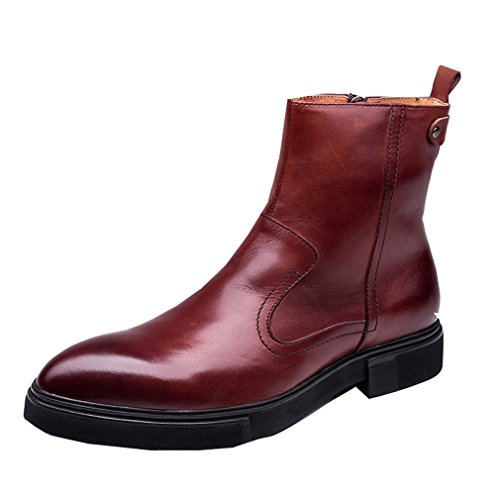 Brown Cow Pull Red MEbox Leather Zip Boots Oxfords Mens Short on RvnUwxgn