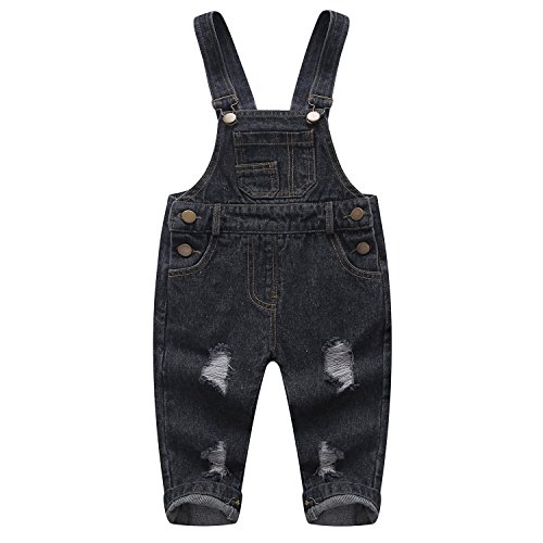 (Kidscool Pure Cotton Blue/Black Baby & Toddlers Ripped Jeans Overalls,Black,2-3 Years)