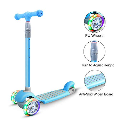 67i Kick Scooter for Kids 3 Wheel Scooter for Toddlers Girls Boys 4 Adjustable Height Lean to Steer with PU LED Light Up Wheels for Children from 3 to 14 Years Old