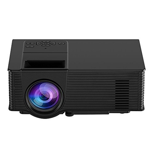 """Video Projector, Dinlly Portable LED Projector 1500 Lumens 180"""" Screen Projector 1080P Home Cinema Theater Projection Machine with USB HDMI AV Support PC Laptop XBOX TV Box Smart phone-Black"""