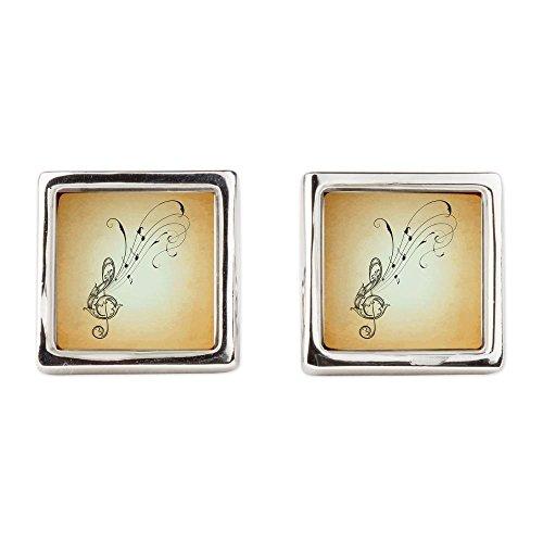 Cufflinks (Square) Musician Treble Clef Music Notes