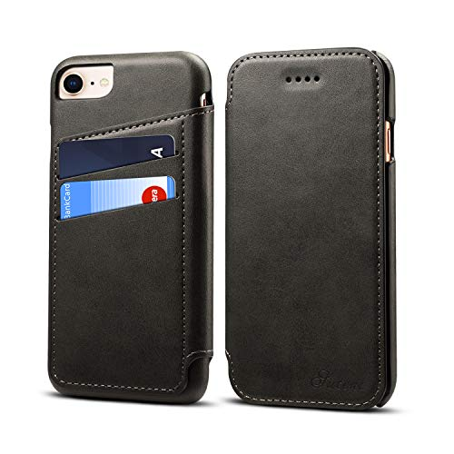 Wallet Leather Case for Apple iPhone 8/7,Black 5 Card Slot (ID Card,Credit Card) Kickstand Full Protection Anti-Scratch Concise Flip Shell,Viewing Stand Gift Girls Boys (Unisex Gift Cards)