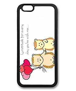 "iPhone 6 Case, iCustomonline Cute Hedgehog Couple Cartoon Valentine's Day Case for iPhone 6 (4.7"") TPU Material Black"