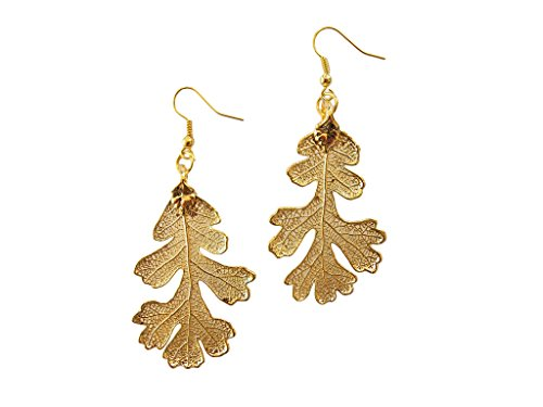 24k Gold Dipped REAL Lacey Oak Leaf, Gold Plated Leaf French Wire Dangle Earrings, Made in - Leaves Earrings Oak