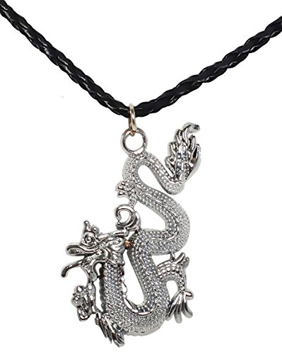 Bijoux De Ja BDJ Silver Tone Asian Chinese Dragon Pendant P'leather Necklace 16