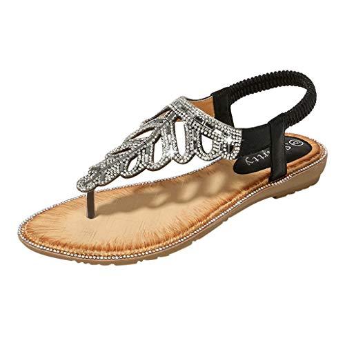 Sandali Foglia Piatto Scarpe sandali Boemia Spiaggia Strass Donne Da Donna Black Somesun Romani Retrò Tacco estivi Eleganti Moda Sandali nHfYawqS