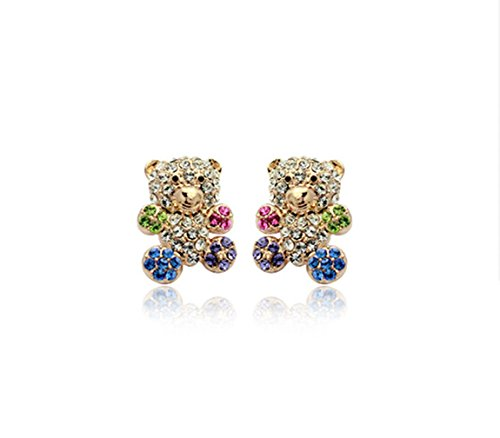 Gold Plated Teddy Bear with Multi-color Swarovski Elements Crystal Stud Earring Fashion Jewelry for Girls