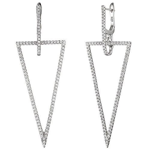 Créoles Triangle Boucles d'oreilles Boucles d'oreilles avec Zirconium Argent 925