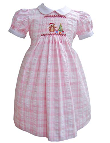 Pink Hand Smocked Holiday Teddy Bear and Christmas Tree Baby Girls Dress 2T
