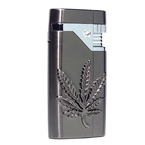 Rhinestone Chopper (S107 - Cannabis Emblem Refillable Pocket Torch Lighter - Gun Metal Color -)