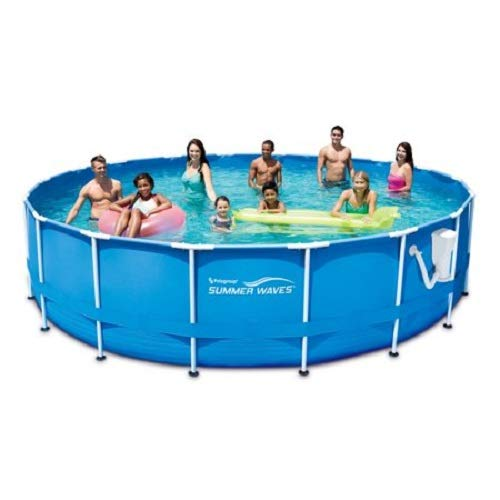 SUMMER WAVES 18' x 48'' Round Metal Frame Above Ground Swimming Pool with Deluxe Accessory Set by SUMMER WAVES