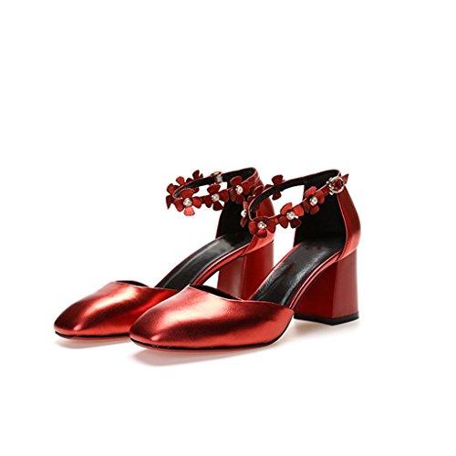 Huecos Hebilla 39 Flores De De con De Zapatos De Mujer Femenina Zapatos De Altos De YUBIN Color Tamaño Tacones Boca Profunda Zapatos Cuero Moda Grueso Otoño Cabeza Red De Poco 4dARnCwq
