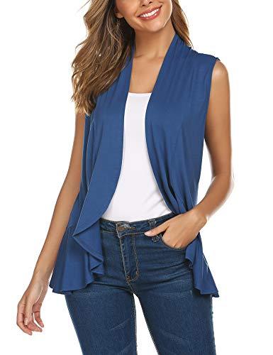Women's Sleeveless Draped Open Front Cardigan Vest with Ruffled Trim Hem Navy Blue -