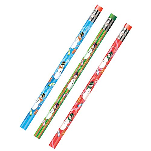 Snowman Pencil - Moon Products Dozen Decorated HB 2 Wood Pencil, Snowman, Assorted (MPD52071B)