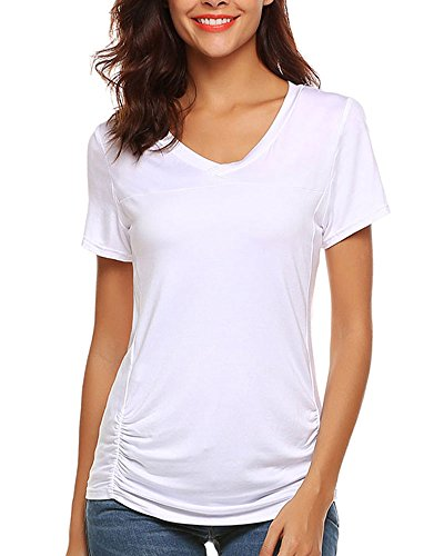 Ruched V-neck Tee - Poetsky Women's V Neck Ruched Side Tunic Shirts Solid Fitted Tops (L, White)
