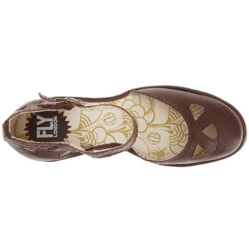 Fly London Yuna - Zapatos de cuña con correa en el tobillo para mujer Marrón (Braun)