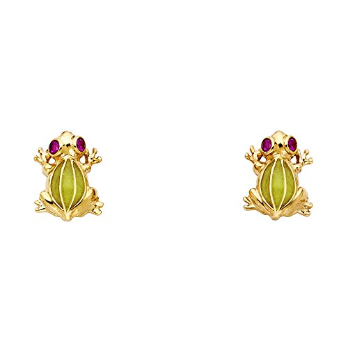 (Wellingsale Ladies 14k Yellow Gold Polished CZ Frog Earrings)