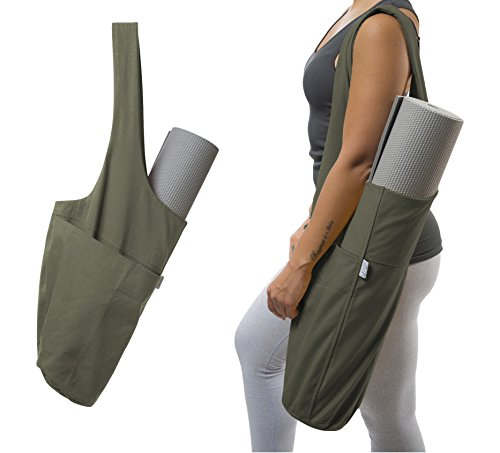 Yoga Mat Bag by Yogiii | The YogiiiTote | Yoga Mat Tote Sling Carrier w/ Large Side Pocket & Zipper Pocket | Fits All Size Mats (Olivine Green)