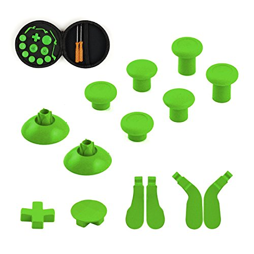 YTTLFull-Set-of-Xbox-One-Elite-Wireless-Controllers-Replacement-Part-15-pcs-6-Swap-thumbsticks-2-D-pads-4-Hair-Trigger-Locks-Green