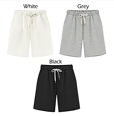 Fuwenni Women's Drawstring Elastic Waist Casual Active Wear Knee Length Bermuda Summer Beach Shorts with Pockets
