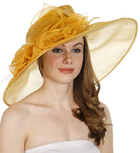(Dress Hat for Women Derby Church Party Wedding Kentucky Tea - Wide Brim Organza Fascinator - Bridal Flower Feather Hats, Gold)