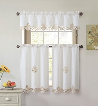 E&A LINEN Royal Beige Cream and Gold Embroidered Floral 3 Pc Kitchen Curtain Set (Royal Beige Cream and Gold Embroidered)