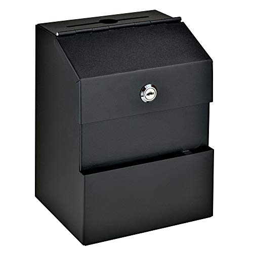 (Comment Boss 8100 Locking Steel Suggestion Box - Key Drop Box - Collection Box - Donation Box - Ballot Box - with 25 Suggestion Cards (Black) )