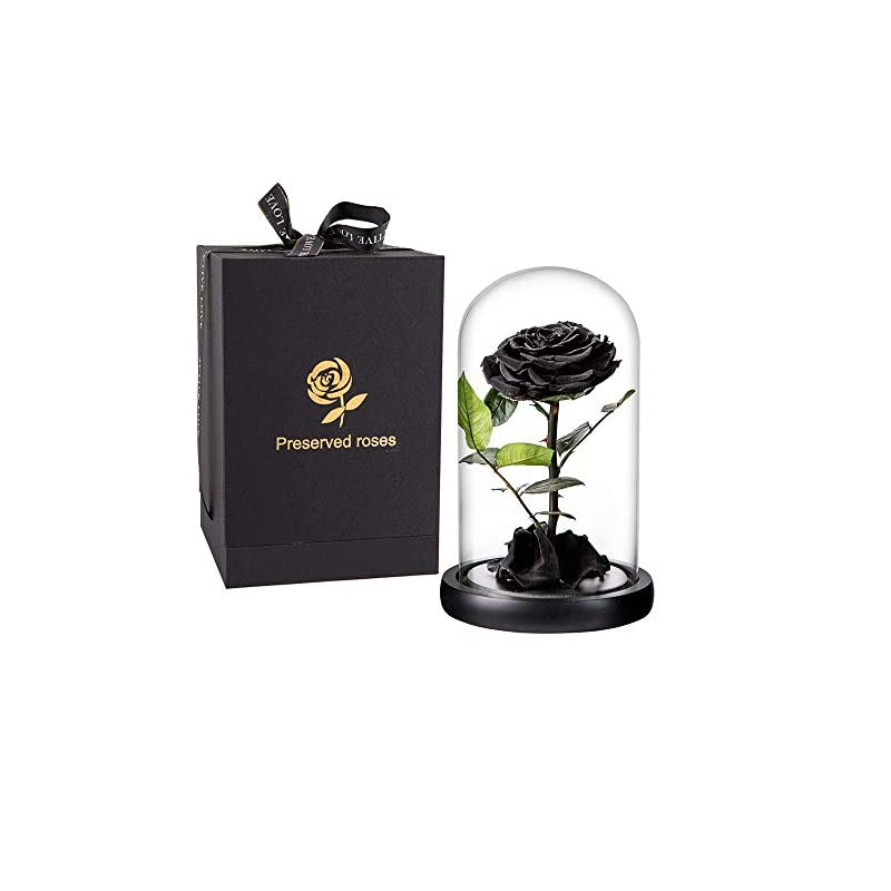 silk flower arrangements preserved rose black roses handmade preserved flower real rose in glass dome, preserved roses never withered romantic gifts for female, valentine's day, mother's day, birthday (9 inch, black)