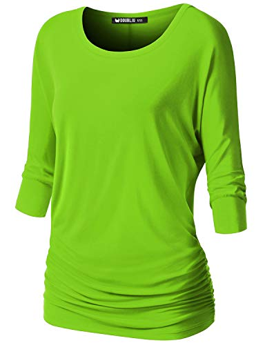 NINEXIS Womens V-Neck 3/4 Sleeve Drape Dolman Top Lime M