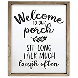 Welcome to Our Porch Framed Rustic Wood Farmhouse Wall Sign 12x15