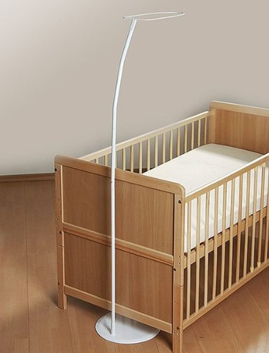 Freistehende Himmelstange mit Fuss für alle Baby-und Kinderbetten 140x70 Weiß