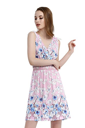86a835c7c1ed jinhuanshow Women's Low Cut Floral Printed Summer Above Knee Sleeveless  Dresses