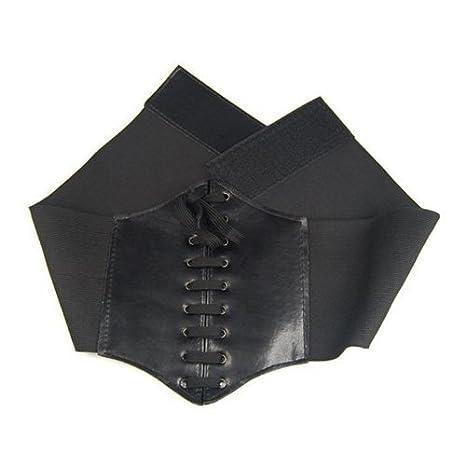 TOOGOO(R) large bande elastique liee Generales de Corset Ceinture, Noir   Amazon.fr  Vêtements et accessoires 8f92ab43984