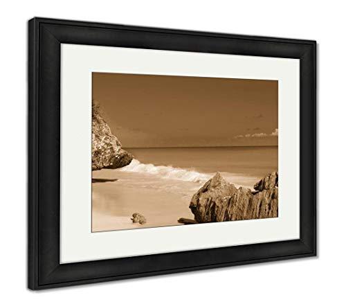 Ashley Framed Prints Tulum Beach Near Cancun Turquoise Caribbean, Wall Art Home Decoration, Sepia, 30x35 (Frame Size), Black Frame, AG5947555