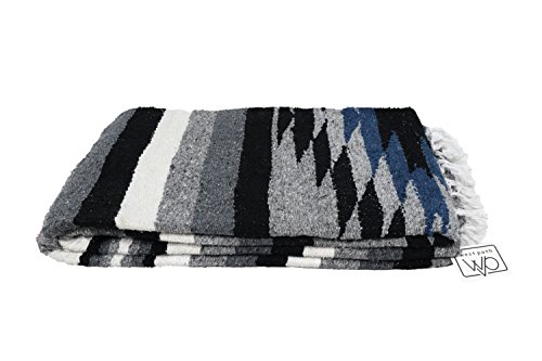 Open Road Goods Aztec Navajo Style Blanket, Throw, or Yoga Bolster - Handwoven Mexican Diamond Blanket - Midnight