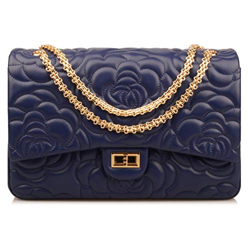 (Ainifeel Women's Quilted Oversize Genuine Leather Shoulder Handbag Hobo Bag Purse (X-Large, Flower (dark blue with gold)