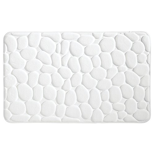 mDesign Pebble Accent Rug Memory Foam Bath Mat for Bathroom Showers - 34' x 21', Gray