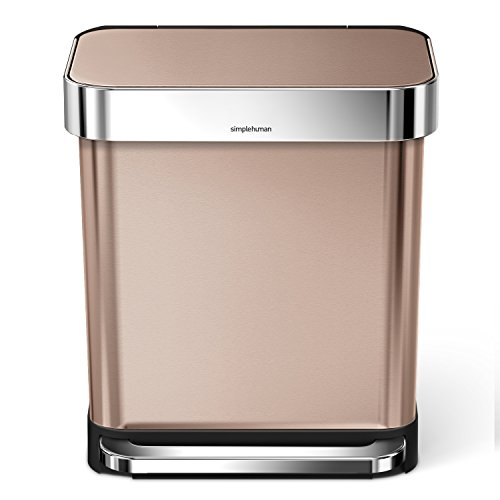 Double Recycling Bin (simplehuman Rectangular Step Trash Can with Liner Pocket, Rose Gold Stainless Steel, 30 Litre / 7.9 Gal)
