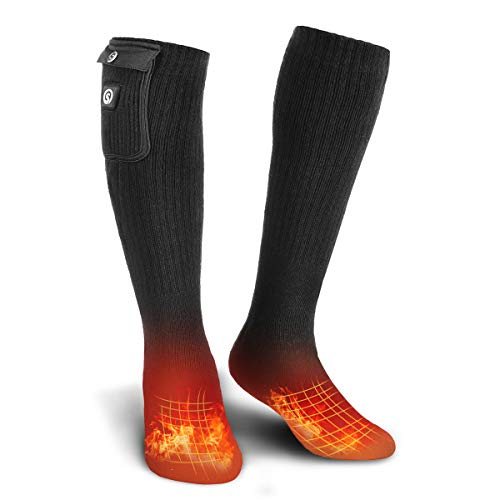 SUNWILL Electric Heated Socks, Foot Warmer with Rechargeable Powered Battery, Winter Warm Socks Kit for Outdoor and Indoor Camping, Hiking, Hunting Motorcycling for Men and Women