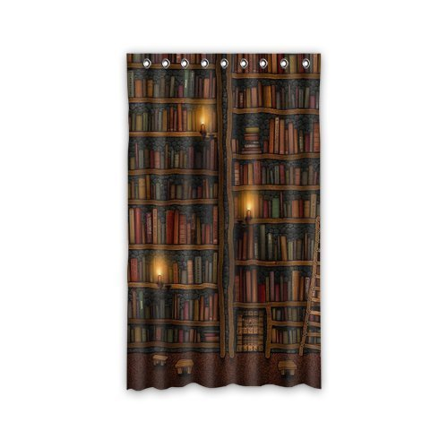 Custom Old Library Books Bookshelf Window Curtains/drape/panels/treatment Polyester Fabric Bedroom 50