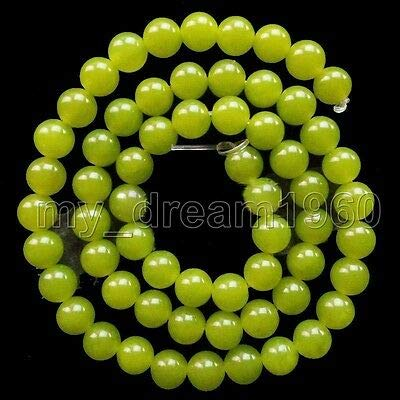 (FidgetFidget Genuine 4/6/8/10/12mm Natural Peridot Round Gemstone Loose Beads 15