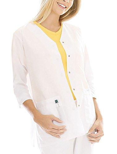 - Landau Women's 3/4 Sleeve Tunic/Solid Scrub Jacket X-Large White