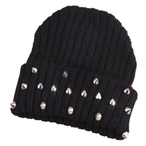 UPC 601026001943, W&Hstore Mens Womens Punk Rock Hip-hop Hat Spike Rivet Stud Knit Cap (Black)