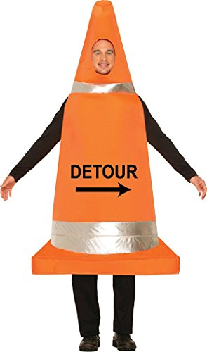 Adults Halloween Stag Night Fancy Party Outfit Vlc Traffic Detour Cone Costume