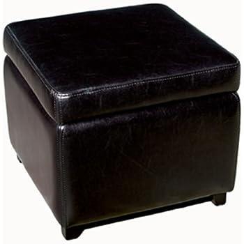 baxton studio full leather square storage ottoman black